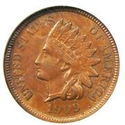 1909-s Indian Cent Penny 1c - Certified Ngc Ms61 Bu Unc - Rare Key Date