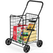 Ironmax Folding Shopping Cart Utility Trolley Portable For Grocery Travel Black