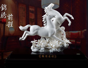 19and039and039 Chinese Ming Dynasty Dehua Porcelain Peony Double Horse Steed Horses Statue