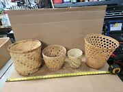Lot Of 5 Vintage Wicker Trash Waste Can Rattan Basket Boho Plant Pot Container