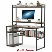 Computer Desk With Hutch And Bookshelves Study Table Workstation For Home Office