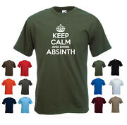 'keep Calm And Drink Absinth' Men's Funny Absinthe Drinking Gift T-shirt