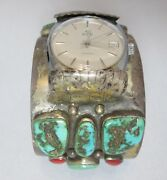 Massive Old Pawn Turquoise Coral Watch Cuff Bracelet With Elgin Automatic Swiss