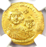 Heraclius With Her. Constantine Av Solidus Gold Coin 613-641 Ad - Ngc Ms Unc