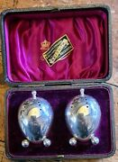 Antique Pair Of Victorian Solid Silver Pepper Pots Deakin And Francis 1893 Cased