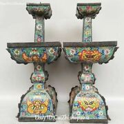 18old China Purple Bronze Cloisonne Dragon Candlestick Candle Stick Holder Pair