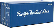 Walthers Ho Scale 20' Smooth-side Container Pacific Far East Line Blue/white