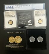 2021 W American Gold Eagle 1/10 Oz Proof Two Coin Set Designer Edition W/coa Ngc