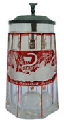 Antique German Stein D.1852 Ruby Cut To Clear With Pewter And Glass Lid