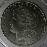 1880/9-s Morgan Dollar Ms65 Blast White Cac Approved