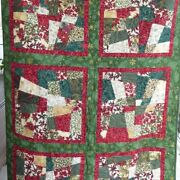Christmas Crazy Quilt-lap Size 42x62 Cotton Fabric And Batting Handmade By Sue