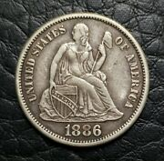Silver 1886-s Seated Liberty 10 Cents Dime | Xf Condition