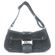 Authentic Christian Dior Trotter Canvas Leather Shoulder Bag Black Used F/s
