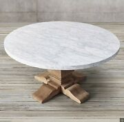 Restoration Hardware Salvaged Wood And Marble Trestle Round Dining Table 48