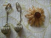 Vintage Sarah Coventry Costume Jewellery Brooch And Earrings