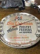 Big Dutchman Poultry Feeds 12 Round Advertising Thermometer Glass Dome Farm Ag