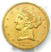 1874-s Liberty Gold Half Eagle 5 Coin - Certified Pcgs Xf40 Ef40 - Rare Date