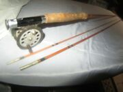 Vintage South Bend Double Cross 31-9' Frank Brazo 3pcs Bamboo Fishing Fly Rod Vg