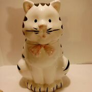 Vintage 1980's Ceramic Black And White Striped Momma Cat Cookie Jar With Pink...