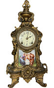Antique Bronze Ansonia Clock Co Royal 1901 Gold Finished Hand Painted 19thc