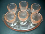 Homespun Pink Depression Glass Closed Handle Platter And 6 Tumblers Set Jeanette
