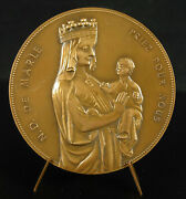 Medal Our Lady Of Marle Pray For Us 1980 2 27/32in French Religious Medal