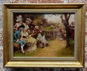 Antonio Lonza -fortune Teller To An Aristocratic Woman-19th Century Oil Painting