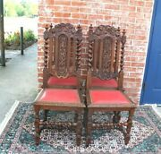 Set Of 4 French Antique Louis Xiii Dark Oak Dining Chairs /red Vinyl