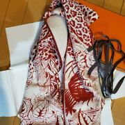 Hermes Shawl Jungle Love 140 Cm Cashmere Silk 56andrdquo Inch Scarf Red Carre Stole