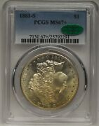 1881-s Morgan 1 Ms67+ Pcgs Cac Approved Light Gold Tone