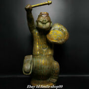 28.3 Old China Shang Dy Bronze Silver Ware Gilt Seat People Beat A Drum Statue