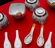 Group Of 6 Vintage Japanese Porcelain Soup Bowls And Spoons All Signed And Marked