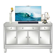 Us Living Room Mirrored Finish Glass Tv Stand With 3-drawer 4 Doors Home Cabinet