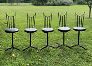5 Vintage Swivel Chairs Bar Stools Heavy Wrought Iron Medieval Antique