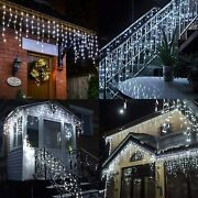Cool White Curtain Icicle Lights Wedding Party Led Fairy Christmas In/ Outdoor