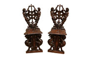 Amazing Pair Of Antique French Renaissance Sqabella Scabella Chairs 11663