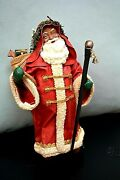 African American Santa- Clothique Vintage Santa With Toy Bag And Walking Stick Ii