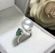 18ct White Gold Genuine Diamond Emerald And Pearl Cocktail Ring Vs Beauty