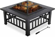 Large Capacity Fire Pit For Wood Metal With Poker Andmesh Andcharcoal Rack Cover 32