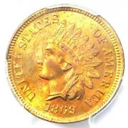 1869 Indian Cent 1c Penny Coin - Certified Pcgs Ms65 Rd Red - 3500 Value