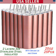 20oz Sublimation Blank Rose Gold Skinny Tumbler Double Wall Vacuum Travel Cup Us