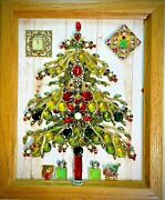 Christmas Tree Framed Jewelry One Of A Kind Art Vintage Wall Decor Unique Gift