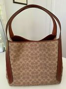 Coach Hadley Hobo, Signature Coated Canvas And Refined Calf Leather, Tan/rust