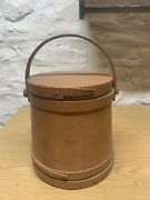 Antique Firkin Bucket Salmon Colored Painted All Original 10 1/2andrdquo Tall