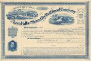 Iowa Falls And Sioux City Rail Road Company - Stock Certificate