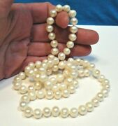 Pearl Necklace Strand String 28 Inches 7 Mm Pearls Hand Knotted 51.3 Grams