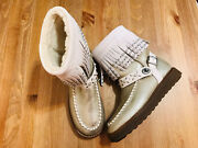 Coach Roccasin Fringe Studded Suede Shearling Moccasin Boots G1362 Nwob Size 7
