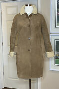 Landsandrsquo End Womens Coat Knee Length Brown Faux Suede Sherpa Lined Small