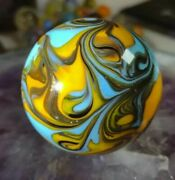 Lovely 💕1.93 Massive New Gold Lutz Swirl Contemporary Art Glass Marbles -toys