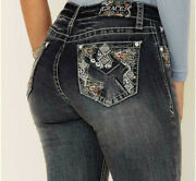 Grace In La Women's Western Aztec Embroidered Embellished Bootcut Stretch Jeans